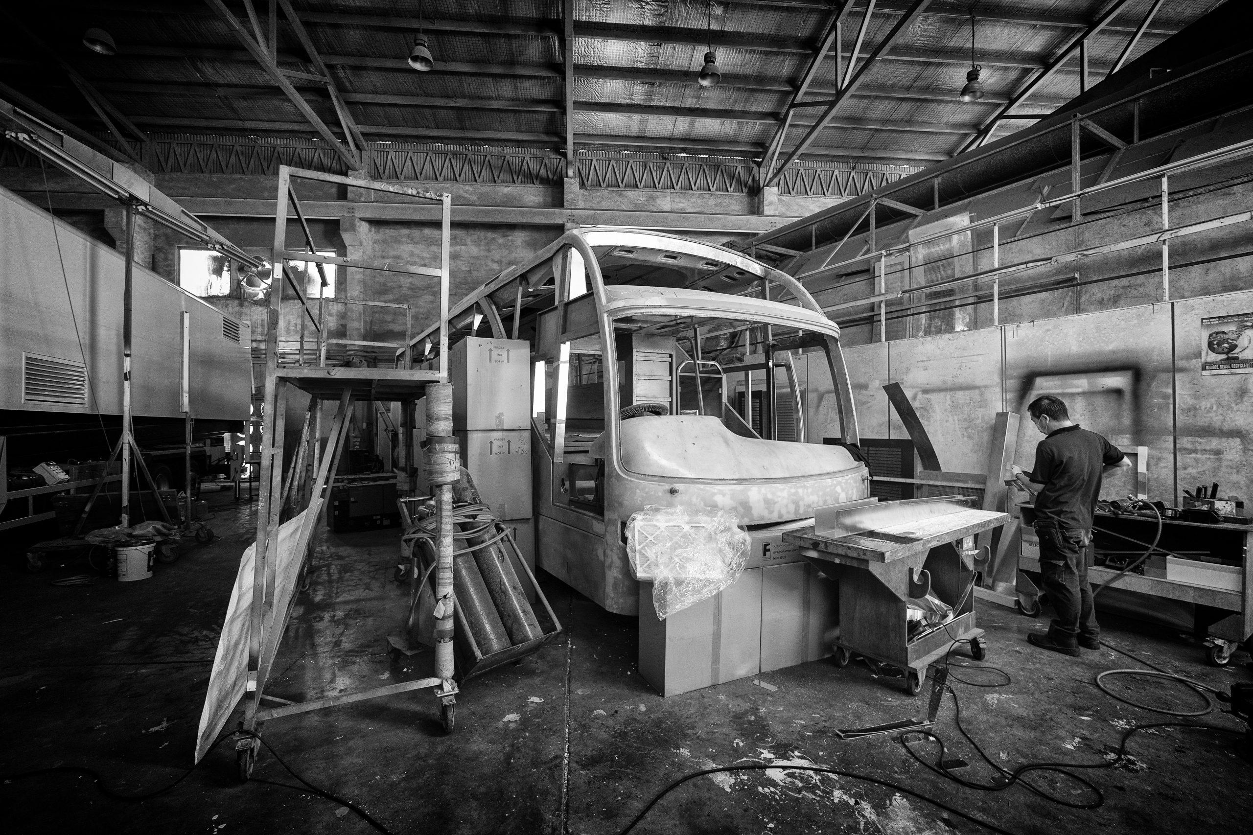 Mr Yeh Kooi San preparing the air conditioning ducting.