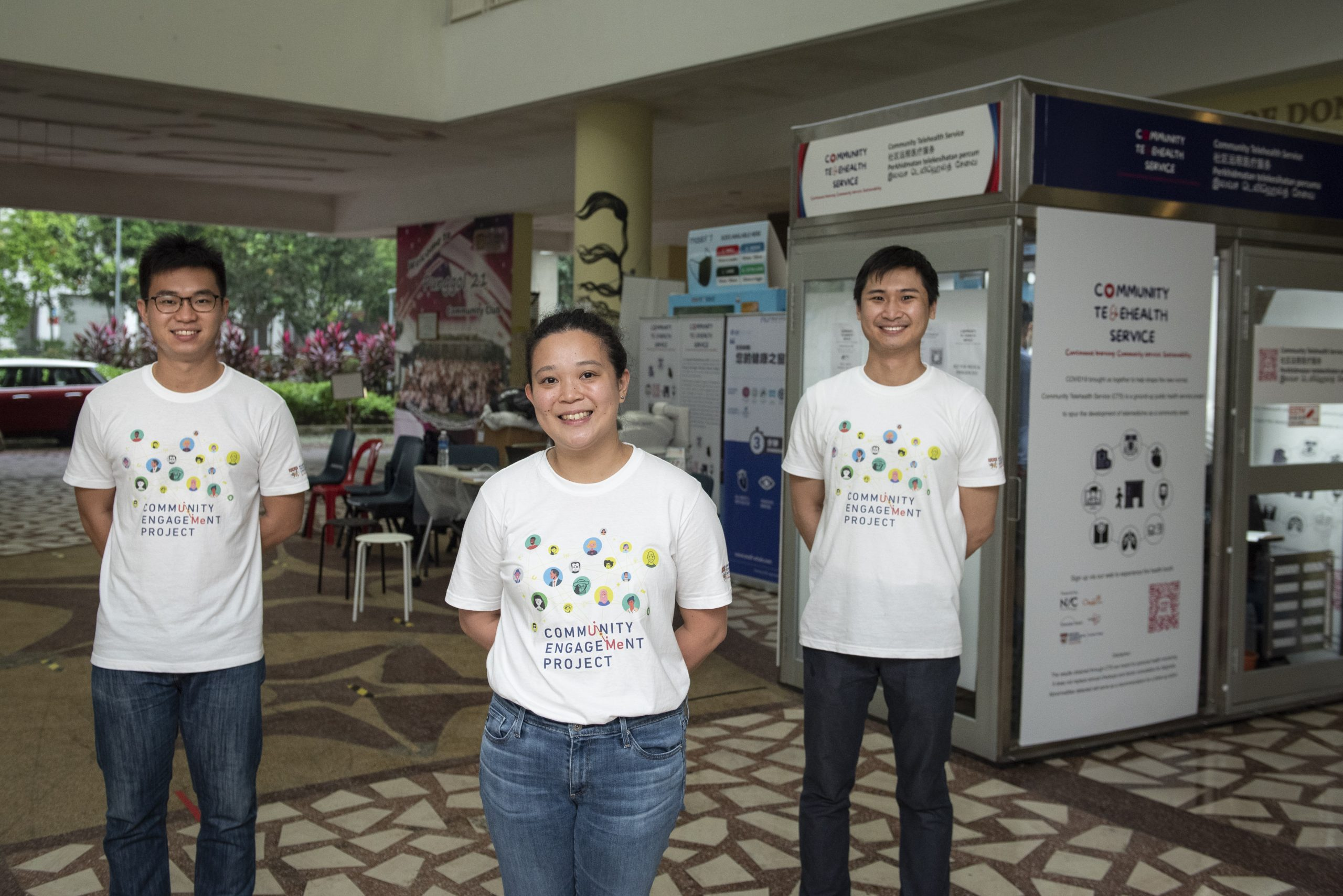 (L-R) Mr Wee Soon Keong, 28, Ms Michelle Law, 31, and Mr Alvin Chew, 28, from NTU Lee Kong Chian School of Medicine, are the founders of Community Telehealth Service.